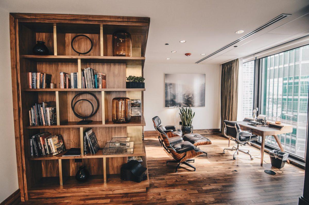 photo of a wooden bookshelf
